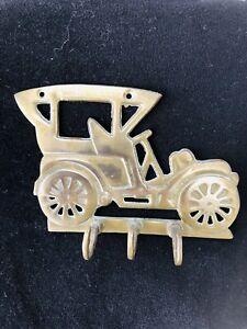 Vintage Car Shaped Brass Key Holder Round 3 Hooks Retro 70s Kitsch