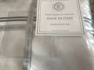 Tessitura Toscana Telerie Finest Linens of Tuscany White Queen Sheet Set