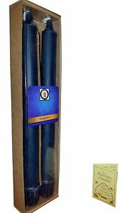"100 Percent  Pure Beeswax 10"" Colonial Taper Candle Pair, Sapphire Blue"