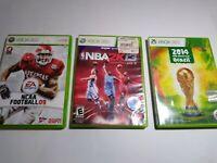 Xbox 360 Sports Lot: NCAA Football 09 FIFA World Cup Brazil NBA 2013 2K13