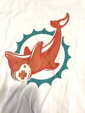 Pink Dolphin Shirt White Sample Miami Dolphin Upside Down Sz Med-B5