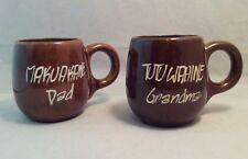 Set Of 2 Vintage Sales Hawaii Honolulu GRANDMA & DAD Brown Coffee Mugs