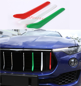 For Maserati Levante 2016-2021 3PCS ABS Front Center Grille Grill Cover Trim