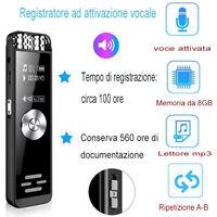 Registratore ad attivazione Vocale Digitale Audio LCD Microfono Dittafono 8GB