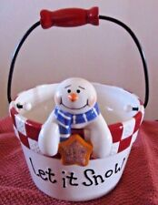 """2006 """"Let It Snow"""" Holiday cermic Bucket with handle"""
