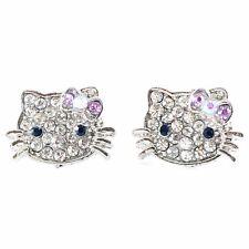 USA Hello Kitty Hair Clip Rhinestone Crystal Hairpin Cat Cute Cartoon New PURPLE