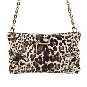34582 auth JIMMY CHOO white Leopard calf hair leather BOLERO Clutch Shoulder Bag