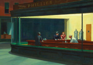 Nighthawkes Downtown Diner Edward Hopper Painting Quality Canvas Print A4
