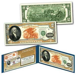 1882 Series James Madison $5,000 Gold Certificate designed on a Modern $2 Bill