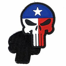 PVC Morale Patch Punisher Texas Flag 3D Badge Hook #08 Paintball Airsoft