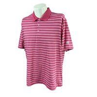 Adidas Golf Men's Climalite Short Sleeve Polyester Pink Stripe Polo Shirt Large