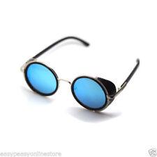Occhiali da sole da uomo con lenti in blu con montatura in argento e mantatura in metallo e plastica