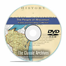 Wisconsin WI, People Cities Towns History and Genealogy 29 Books DVD CD B20