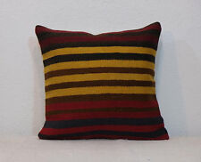 16'' x 16'' Throw Pillows,Patchwork Pillow Cover,Striped Kilim Pillow Cover