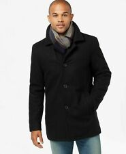 Tommy Hilfiger Men's Black Wool Quilted Lined Coat  - Size Small