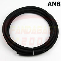 8# AN8 -8 8AN STEEL NYLON TRANSIMISSION OIL FUEL LINE GAS RUBBER HOSE 3FOOT BK