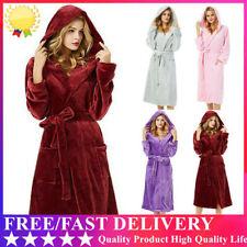 Women Luxury Long Bath Robe Dressing Gown Hooded Ladies Fluffy Fleece Bathrobe