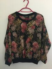Miss Selfridge Women's Sheer Decorative Floral Top Size 10 Black Pink Gold