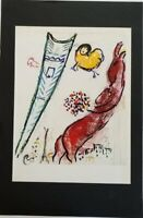 """Marc Chagall """"Eiffel Tower"""" Pastel & Ink Mounted Lithograph 10"""" x 13"""" 1968 Rare"""