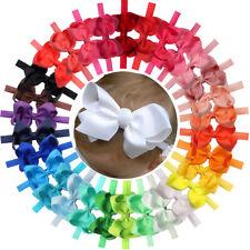 30Pcs Baby Girls Solid Ribbon Hair Bows Headbands Big Bow Hair Bands for Toddler