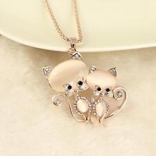 Las mujeres de oro rosa Dos gatos de cristal colgante collar de cadena atractivo