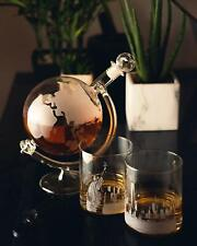 Whiskey Brandy Globe Decanter Glass Set Mens Unique Xmas Gift Tumblers World