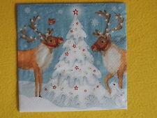 5 Servietten Rehe Hirsche Schneehasen Weihnachten ServiettentechnikTannenbaum