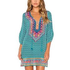 Women Summer Bohemian Geometric Chiffon V-Neck Print Loose Casual Mini Dress US