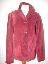 "VINTAGE 100% SUEDE-SATIN LINED- SHORT RASPBERRY JACKET -B 46"" BUTTONED"