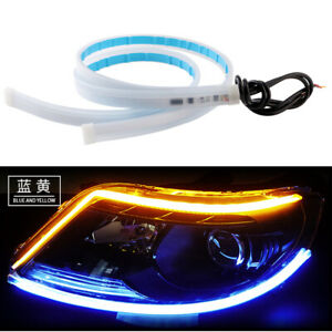 Blue/Amber 30CM 45CM 60CM Flexible Tube Headlight LED DRL Strip Turn Signal 12V