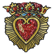 2pc Fashion Sequin Crown Heart Badge Fabric Patches Gold Embroidery Applique
