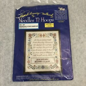 Cross Stitch Kit Marriage Vows Sampler Wedding Love 12x14 New Needles N Hoops