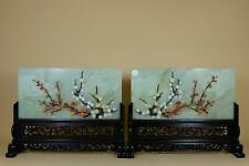 👀Pair Antique Chinese Jade Table Screen,Agate,lapis lazuli,turquoise,Red Coral.