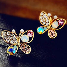Ladies Chic Lovely Crystal Rhinestone Hollow Butterfly Ear Stud Earrings Gift AU