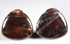 Two (2) Red Bamboo Agate 30mm Triangle Drop Drill Beads aka Red Giraffe (268)