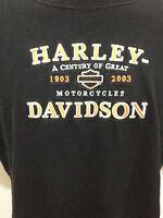 Harley Davidson Motorcycles Mens L Embroidered Black T-Shirt Orlando 1903-2003
