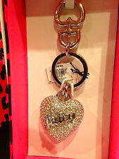 NWT Authentic Juicy Couture Keychain Pave Heart Keyfob Silver