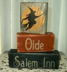 Primitive Halloween Sign Blocks Olde Salem Inn Witch