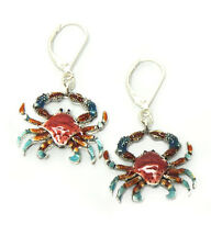 Sea Life Pierced Wire Earrings Crab Multi Colored Coral Aqua