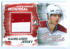 """CHRIS HIGGINS """"2 COLOR SILVER GAME USED JERSEY CARD"""" FOREVER RIVALS CANADIENS"""