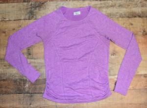 ATHLETA Fastest Track Shirt Size Large Purple Space Dye Seamless Long Sleeve Top