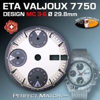 DIAL FOR MOVEMENT ETA VALJOUX 7750, MC3-S, 3-D, SILVER, SUPER LUMINOUS Ø 29.8 mm