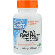 Doctor's Best Best French Red Wine Extract 5% Resveratrol 60 mg 90 Veggie Caps
