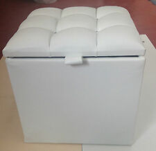 Cube Crushed Velvet Diamante Ottoman Pouffe Foot Stool Toy & Storage Box