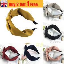 Women's Bow Knot Turban Hairband Alice Band Hair Hoop Headband Solid Color UK