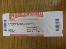 28/04/2013 Ticket: Admira Wacker v Austria Wien. Any faults with this item have