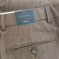 Brooks Brothers 1818 Madison Mens 33W Wool Blend Pants Brown  Unhemmed NEW $248