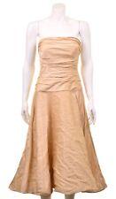 Ralph Lauren Black Label Champagne Gold Drop Waist A line Formal Ruffled Dress
