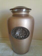 624 Mocha Rose Vase Adult Funeral Memorial Cremation Urn- FREE Plate