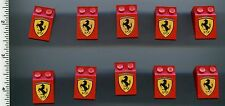 LEGO x 10 Red Slope 33 3 x 2 with Ferrari Logo Pattern NEW 1253 Town